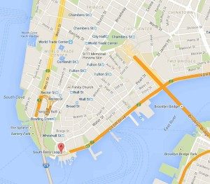 Locatie Whitehall Terminal op Manhattan. Hiervandaan vertrekt de gratis veerboot naar Staten Island. bron: Google Maps